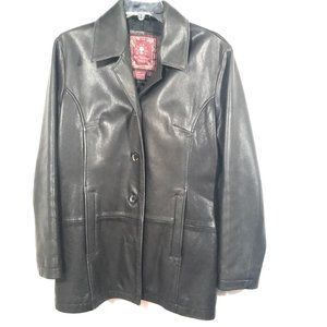 THE TERRITORY AHEAD Black Blazer Leather Jacket
